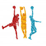 Man basketball vector background silhouette vector abstract back — Stock Vector