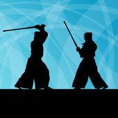 Luchadores de artes marciales kendo japonés activo espada del deporte, Tailandia, Asia — Vector de stock
