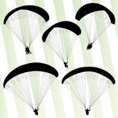 Paragliding active sport background set vector — Stock Vector