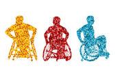 Active disabled men wheelchair vector background concept — 图库矢量图片