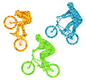 Extreme cyclists bicycle riders active teenager vector backgroun — Stock Vector