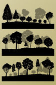 Forest trees silhouettes landscape illustration collection backg — Stock Vector