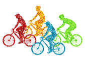 Colorful sport road bike rider bicycle silhouette background ill — Stock Vector
