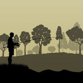 Fisherman, angler vector background landscape concept with trees — Vecteur