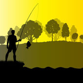 Fisherman, angler vector background landscape concept with trees — Wektor stockowy
