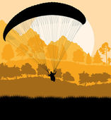 Paragliding vector background landscape concept vector — Stock Vector