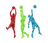 Человек баскетбол Векторный фон силуэт вектор Аннотация обратно — Cтоковый вектор
