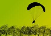 Paragliding active sport background landscape concept vector wit — Stock Vector