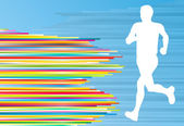 Man runner silhouette vector background template concept — 图库矢量图片