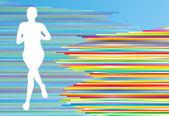 女性ランナー シルエット ベクトル背景テンプレート コンセプト — ストックベクタ
