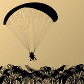 Parapente deporte activo fondo paisaje concepto vector — Vector de stock