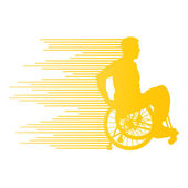 Man in wheelchair disabled people concept made of stripes vector — Stock Vector