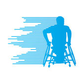 Man in wheelchair disabled people concept made of stripes vector — Stockvektor