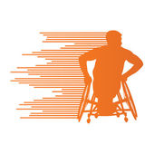 Man in wheelchair disabled people concept made of stripes vector — Vector de stock