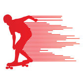 Skateboarder silhouette vector background concept made of stripe — Stock Vector
