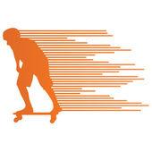 Skateboarder silhouette vector background concept made of stripe — Stock Vector