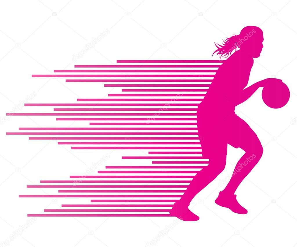 Equipo De Baloncesto De Las Mujeres Imagen De Archivo: Concepto Mujer Baloncesto Jugador Vector Fondo De Colorf