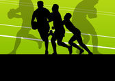 Rugby player man silhouette vector background concept — Stock Vector