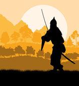 Medieval warrior, crusader vector background landscape — Stock Vector