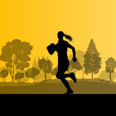 Woman rugby silhouette in countryside nature background illustra — Wektor stockowy