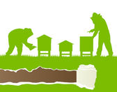Apicultores trabalhando em apiário vector ecologia de fundo — Vetor de Stock