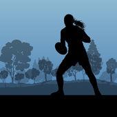 Rugby silhouette der frau in landschaft natur hintergrund illu — Stockvektor