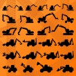 Construction site loaders machinery detailed editable silhouettes illustration collection background vector — Stock Vector #9707943