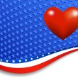 Stars and Stripes with Heart — Stock Vector