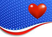 Stars and Stripes with Heart — Vector de stock