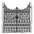 Stock Vector: Wrought Iron Gates, vintage engraved illustration