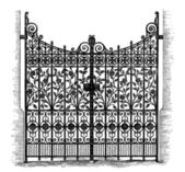 Wrought Iron Gates, vintage engraved illustration — Stock Vector