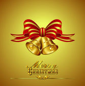 Christmas Card with Bells on Gold background — Stock Vector