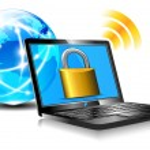 Padlock on laptop screen Laptop internet surfing protection — Stock Vector #16205007