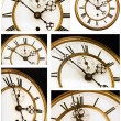 Old Clock Face Six Views — Stock Photo