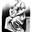Charity, Sculpture from the Paris Exhibition of 1878, by Paul Dubois - vintage engraved illustration - vector — Stock Vector