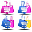 Selection of Shopping on the Internet Icons — Stock Vector