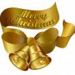 Merry Christmas Bells Gold — Stock Vector