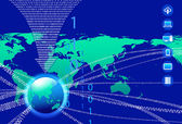 Asia Data Background - Binary Code Technology Stream with Globe — Stockvektor
