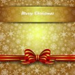 Merry Christmas Card Snowflakes - Gold Vector Background — Stock Vector