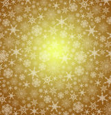 Stylized Gold Christmas snowflakes - Abstract vector background — Stok Vektör