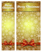 Snowflakes Christmas Gold Web Banners easy to modify — Stock Vector