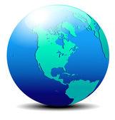 Kuzey, güney ve orta amerika, küresel dünya — Stok Vektör