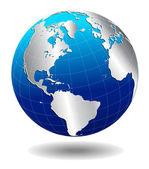 Noord, zuid-amerika, europa, afrika geglobaliseerde wereld — Stockvector