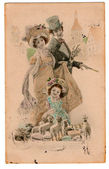 Vintage Edwardian Victorian Postcard — Stock Photo