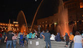 Fountain show on Republic square, Erevan — Stockfoto
