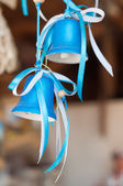 Two blue bells with ribbons — Stock Photo