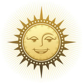 Ethnic laughing sun. — Stock vektor