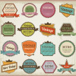 Vintage labels and ribbon retro style set. Vector design element - Stok fotoraf