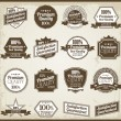 Stock Photo: Collection of Premium Quality and Guarantee Labels with retro vi