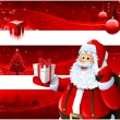 Red Christmas banners and Santa Claus - Stock Photo